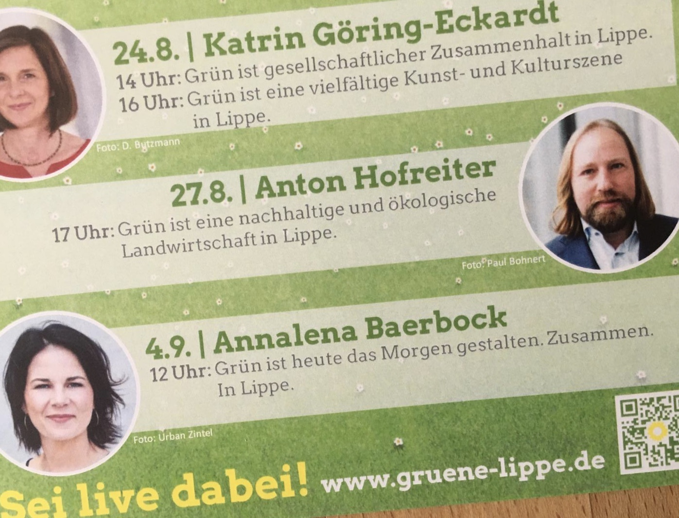 Ankündigung 24.8. Katrin Göring-Eckardt 27.8. Anton Hofreiter 4.9. Annalena Baerbock