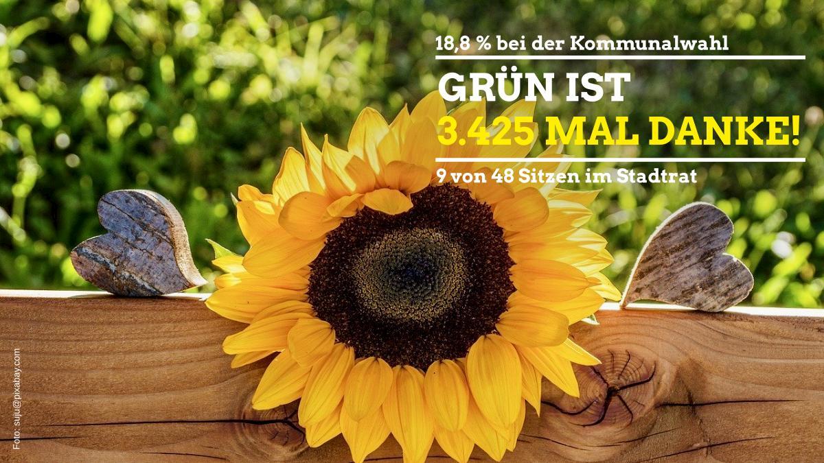 Sonnenblume mit Text Grün ist 3.425 mal Danke