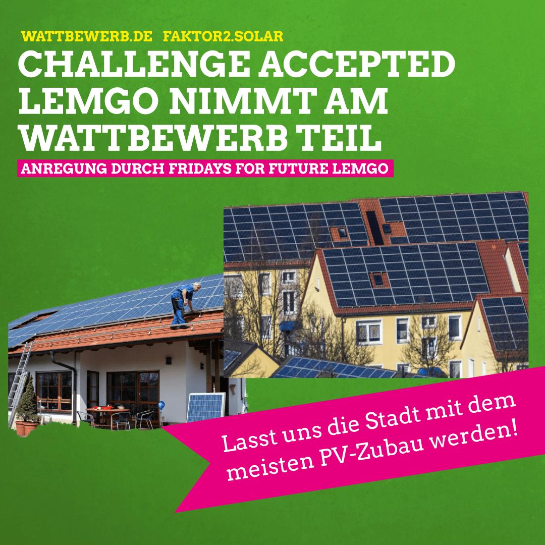 Faktor 2 für Sonnenstrom: Lemgo nimmt am wattbewerb.de teil