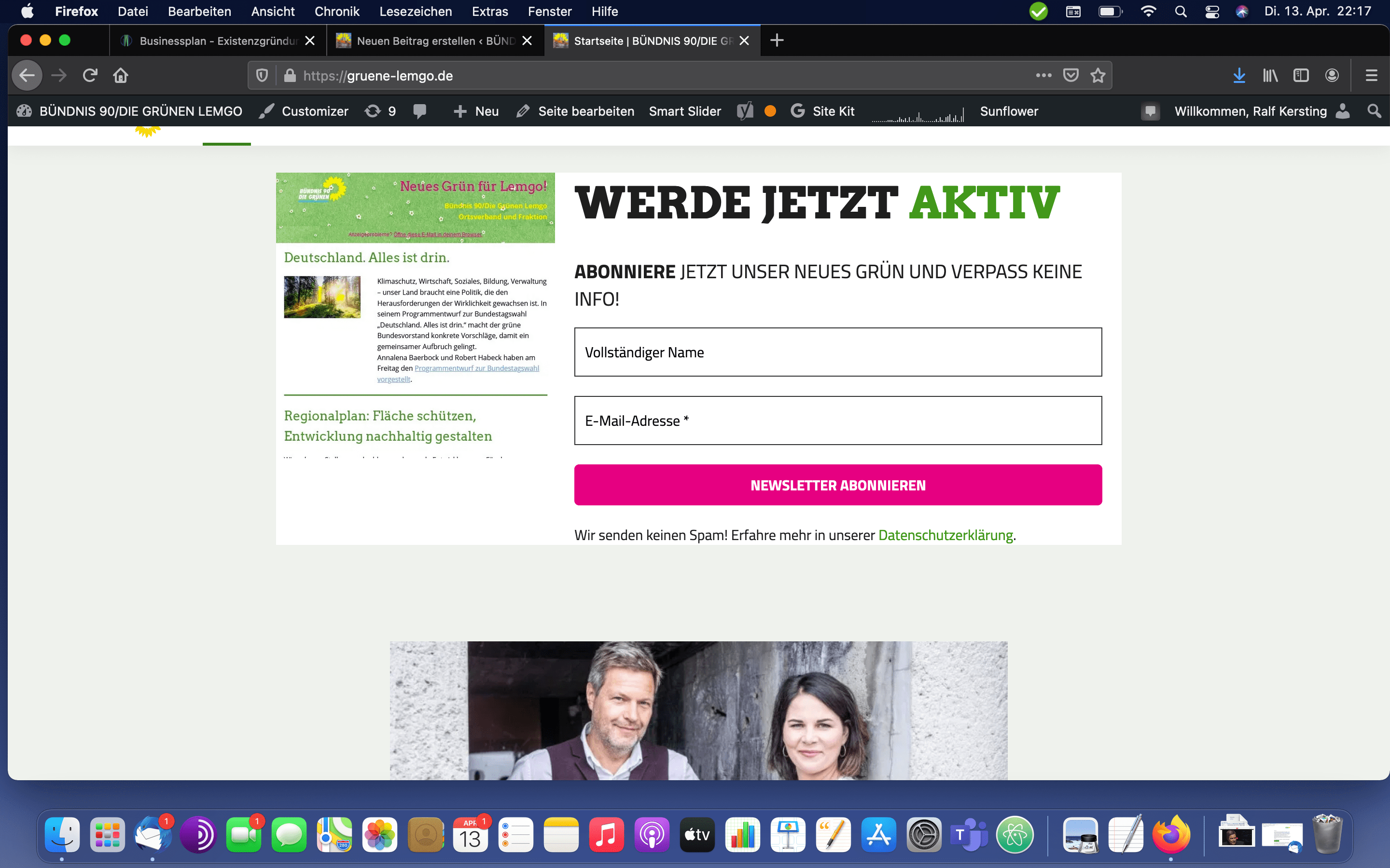 Screenshot neue Website April 2021