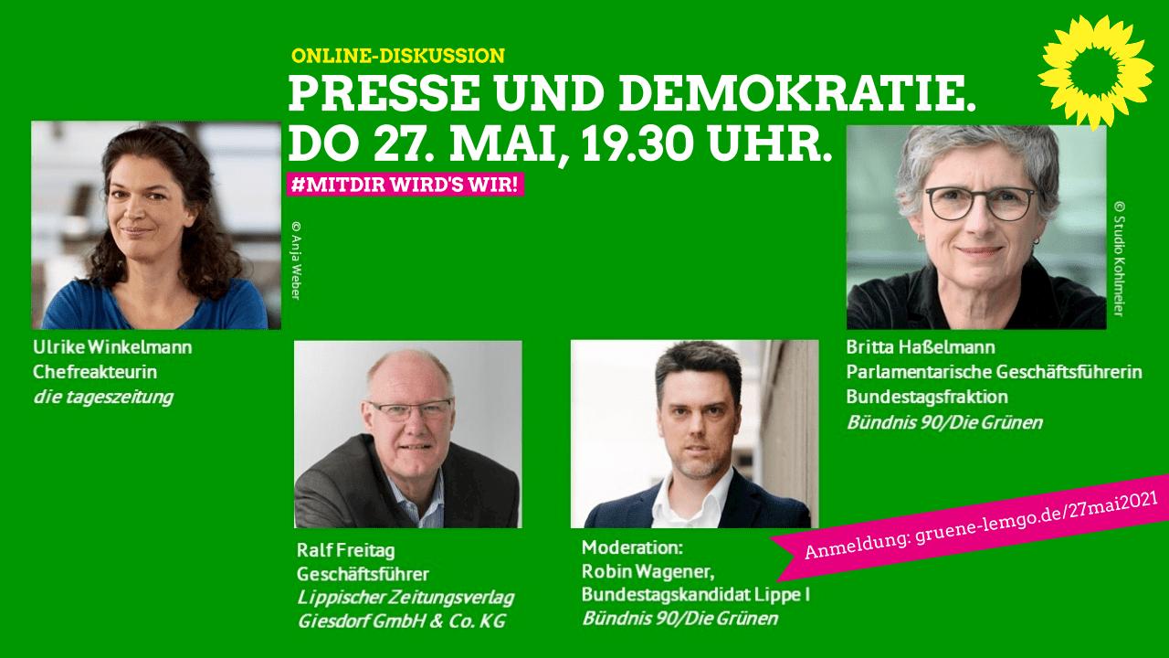 """Online-Diskussion """"Presse und Demokratie"""" am 27. Mai"""