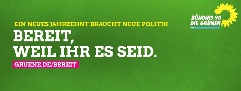 """Beitragsbild """"Ein neues Jahrzehnt braucht neue Politik. Bereit, weil Ihr es seid. gruene.de/bereit"""" + Logo Bündnis 90/Die Grünen Lemgo"""